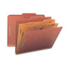 Smead Pressboard Folders with Two Pocket Dividers, Letter, Six-Section, Red, 10/Box