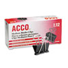 "ACCO Medium Binder Clips, Steel Wire, 5/8"" Cap., 1-1/4""w, Black/Silver, Dozen"