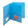 Two-Pocket Portfolio, Embossed Leather Grain Heavy Paper, Blue, 25/Box