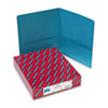 Two-Pocket Portfolio, Embossed Leather Grain Paper, Teal, 25/Box