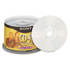 Sony CD-R Discs, 700MB/80min, 48x, Spindle, Silver, 50/Pack