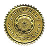 Gold Foil Certificate Seals, &quot;Achievement&quot;, Embossed Foil, 12/Pack