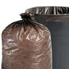 Total Recycled Plastic Trash Garbage Bags, 33 gal, 1.3mil, 33x40, Brown, 100/CT