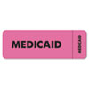 Medical Labels for Medicaid, 1 x 3, Fluorescent Pink, 250/Roll