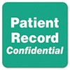 PATIENT RECORD CONFIDENTIAL Medical Labels, 2 x 2, Green, 500/Roll