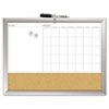Magnetic Dry Erase 3-N-1 Board, Cork Area, 24 x 18, White with Silver Frame