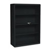 Executive Steel Bookcase W/ Glass Doors, 3 Shelves, 36w x 15d x 42h, Black