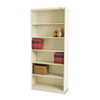 Metal Bookcase, 6 Shelves, 34-1/2w x 13-1/2h x 78h, Putty