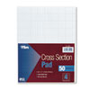 Section Pads, 4 Squares, Quadrille Rule, Letter, White, 50 Sheets/Pad