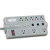 Tripp Lite TLP808TELTV Surge Suppressor, 8 Outlets, 8 ft Cord, 2160 Joules, Dark Gray