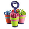 School Scissor Caddy and 25 Kids Scissors With Microban, 5&quot; Blunt