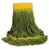 UNISAN EcoMop Looped-End Mop Head, Recycled Fibers, Large Size, Green