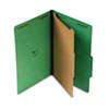 Pressboard Folder, Legal, Four-Section, Emerald Green, 10/Box
