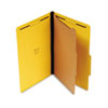 Pressboard Classification Folders, Legal, Four-Section, Yellow, 10/Box
