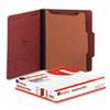 Universal Pressboard Classification Folder, Letter, Four-Section, Red, 10/Box