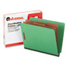 Pressboard End Tab Folders, Letter, Six-Section, Green, 10/Box