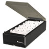 Business Card File, Metal/Plastic, 4 1/4 x 8 1/4 x 2 1/2, Black/Smoke