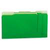 Recycled Interior File Folders, 1/3 Cut Top Tab, Letter, Green, 100/Box