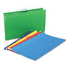 Universal One Hanging File Folders, 1/5 Tab, 11 Point, Legal, Assorted Colors, 25/Box