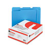 Universal One Colored File Folders, 1/3 Cut Assorted, Two-Ply Top Tab, Letter, Blue, 100/Box