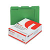 Universal One Colored File Folders, 1/3 Cut Assorted, Two-Ply Top Tab, Letter, Green, 100/Box