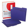 Universal One Colored File Folders, 1/3 Cut Assorted, Two-Ply Top Tab, Letter, Violet, 100/Box
