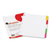Universal Write-On/Erasable Indexes, Five Multicolor Tabs, Letter, White, 5/Set