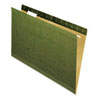 Universal One Reinforced Recycled Hanging Folder, 1/5 Cut, Legal, Standard Green, 25/Box