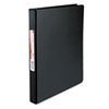 "Suede Finish Vinyl Round Ring Binder, 1/2"" Capacity, Black"