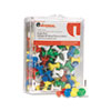 Universal Colored Push Pins, Plastic, Rainbow, 3/8