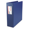 "Suede Finish Vinyl Round Ring Binder With Label Holder, 3"" Capacity, Royal Blue"