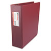"Suede Finish Vinyl Round Ring Binder With Label Holder, 3"" Capacity, Burgundy"