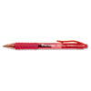 Clear Barrel Roller Ball Retractable Gel Pen, Red Ink, Medium, Dozen