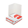 Two-Pocket Portfolio, Embossed Leather Grain Paper, White, 25/Box
