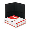 Universal Two-Pocket Portfolio, Embossed Leather Grain Paper, Black, 25/Box