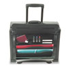 Rolling Catalog/Computer Case, Leather, Black