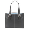 "Classic Collection 15.4"" Laptop Tote, Pebble-Grain Vinyl, Black/Blue"