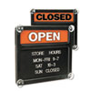 Double-Sided Open/Closed Sign w/Plastic Push Characters, 14 3/8 x 12 3/8