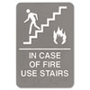 ADA Sign, 6 x 9, In Case of Fire Use Stairs, Gray