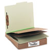 ACCO Pressboard 25-Pt. Classification Folder, Letter, Six-Section, Leaf Green, 10/Box