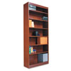 Alera Square Corner Wood Veneer Bookcase, 7-Shelf, 35-3/8w x 11-3/4d x 84h, Medium Oak
