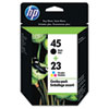 C8790FN (HP 45; HP 23d) Ink, 830 Page-Yield, 2/Pack, Black; Tri-Color