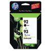 C9513FN (HP 92; HP 93) Ink, 220 Page-Yield, 2/Pack, Black; Tri-Color