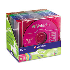 Verbatim CD-RW Discs, 700MB/80min, 4X, Slim Jewel Case, Assorted Colors, 20/Pack