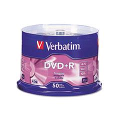 Verbatim DVD+R Discs, 4.7GB, 16x, Spindle, Matte Silver, 50/Pack