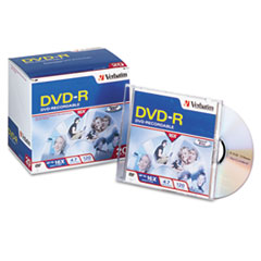 Verbatim DVD-R Discs, 4.7GB, 16x, w/Slim Jewel Cases, Matte Silver, 20/Pack