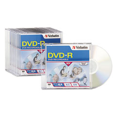 Verbatim DVD-R Discs, 4.7GB, 16x, w/Slim Jewel Cases, 10/Pack