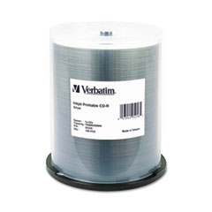 Verbatim CD-R, 52x, 700MB, Inkjet Printable, Silver, 100/Pack