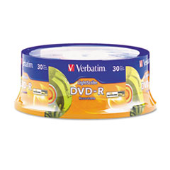 Verbatim DVD-R Light Scribe Discs, 4.7GB, 16x, Spindle, Gold, 30/Pack