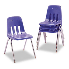 "9000 Series Classroom Chair, 18"" Seat Height, Blueberry/Chrome, 4/Carton"